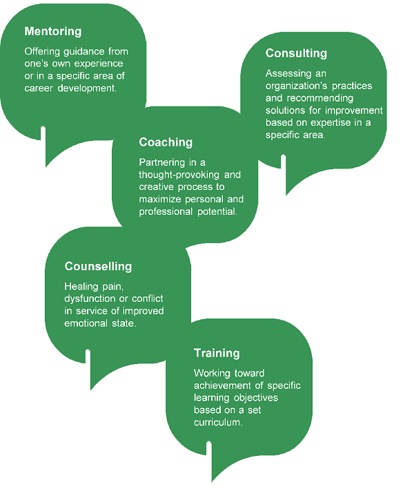 graphic difference between mentoring-coaching-training
