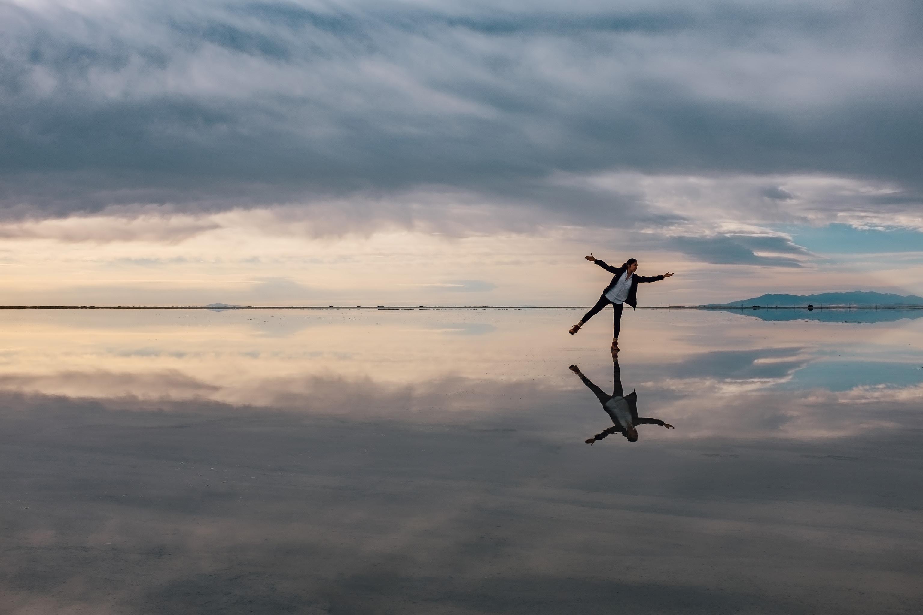 woman's reflection on lake, self-reflection